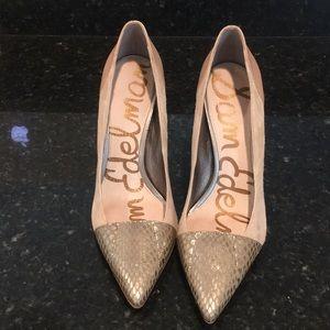Gorgeous 8.5 Sam Edelman Heels With Snake Skin Toe